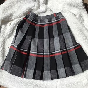 Talbots Pleated Skirt- Red, Black, Gray, White